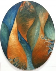"""Fire Meets Ocean"", c. 2010 - Oil on Canvas - 16x12 - Private Collection"